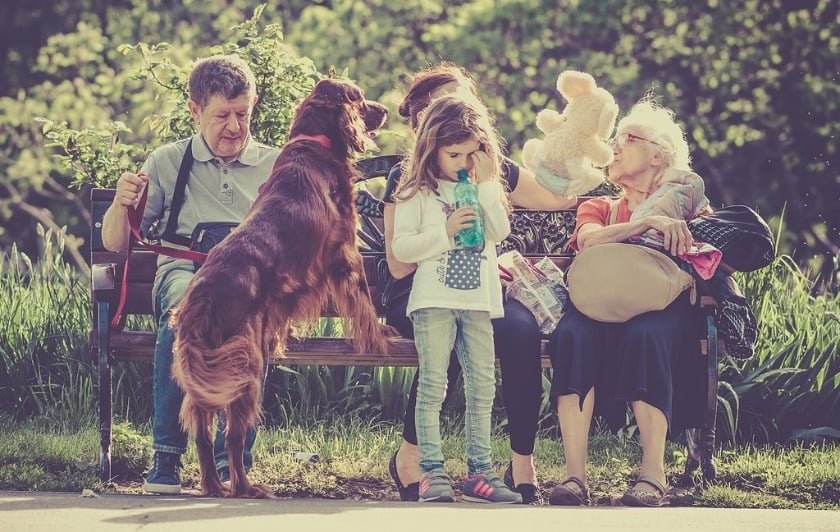 A family of grandparents and grandkids outside with their dog