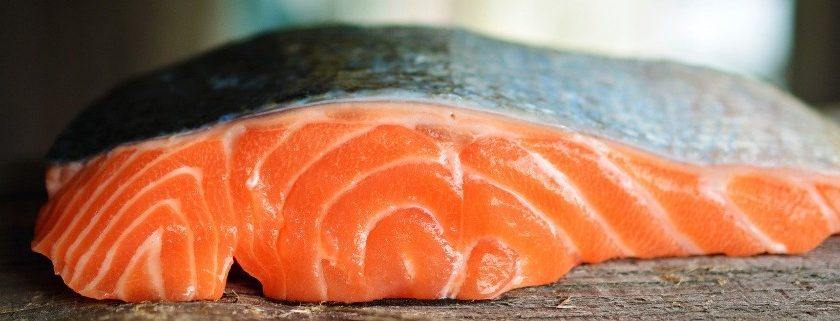 Food made with salmon containing omega 6 as their main ingredient