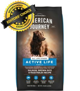 Editors Choice is American Journey Active Life Formula Dry Dog Food With Recipe Ingredients Such As Salmon Brown Rice Vegetables