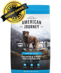 Editors Choice is American Journey Grain Free Salmon Protein Sweet Potatoes