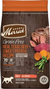 Merrick Grain Free Adult Food For All Breeds, Real Texas Beed & Sweet Potatoes (Protein)