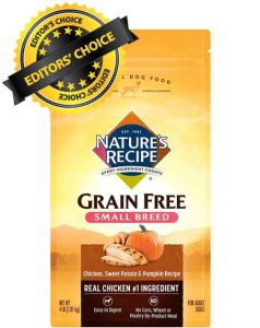 Editors Choice is Natures Recipe Grain Free Small Breed Chicken Sweet Potato Pumpkin Ingredients