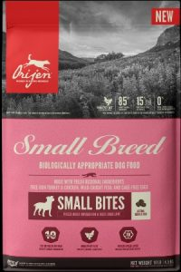 A Bag Of Orijen Small Breed Dog Food Turkey Chicken Wild Caught Fish Cage Free Egg Ingredients