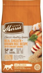 Merrick Classic chicken meal with ingredients chicken dog foods